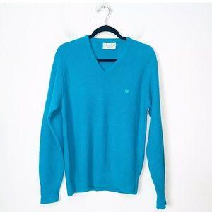Vintage Christian Dior Blue V Neck Sweater